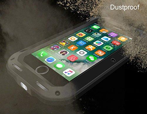 iPhone 7 Hülle : Fonrest Love mei Leistungsstarke Aluminium Metal Armor Gorilla-Glas Stoß- schnee- schmutzfester Abdeckung für iPhone 7 (iPhone 7, Silber) Schwarz