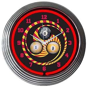 Neonetics jeu de billard de Bar et salon horloge murale 1,8,9 fluo 15 cm