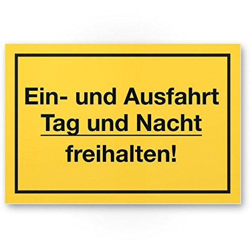 Ein- / Ausfahrt Tag- / Nacht Freihalten Kunststoff Schild (gelb, 30 x 20cm), Warnhinweis/Hinweisschild Einfahrt - auch gegenüber, Parken verboten - Parkverbot, Halteverbot