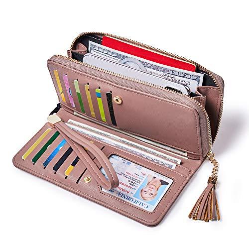Geldbörse Damen PU Leder Langbörse Große Kapazität Geldtasche Frauen mit  Reißverschluss mit Handgelenkriemen Pink 83ae2aff17