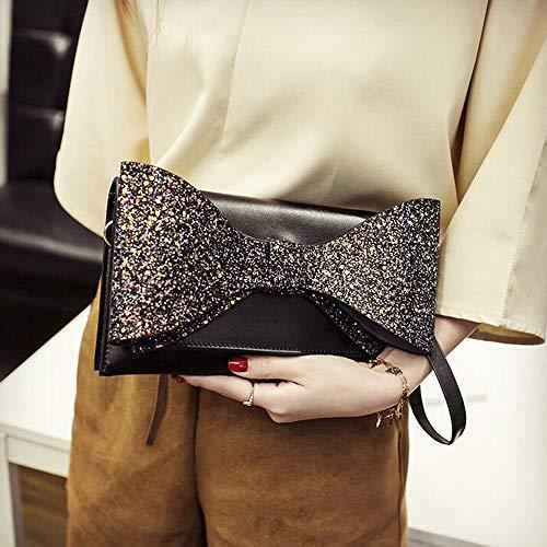 CX Damentasche Eine Schulter Crossbody Handtasche Brieftasche Kette Kleine Quadratische Tasche Leder Bow-Knoten Flash-Bohrmaschine Mini Schwarz Pink Grau Wasserdicht Tragbar Datierung,Black