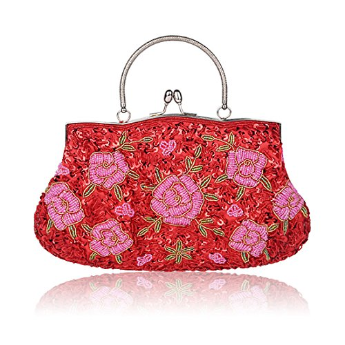 SSMK Sequin Clutch Bag, Poschette giorno donna Red