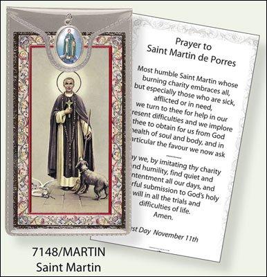 ST Saint Martin Argento Foil Etched Verse preghiere e medaglia ciondolo - Foil Ciondoli