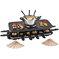 Traditional Raclette Grill Fondue Set, Non-Stick Top for Healthier Cooking with 12 Raclette Spatulas by Cooks Professional