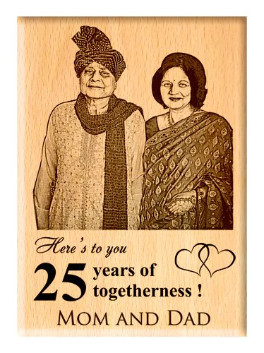 Engraveindia Personalized Unique Wedding Anniversary/Just Married Gift - Wooden Engraved Photo Plaque/Frame (5x4)