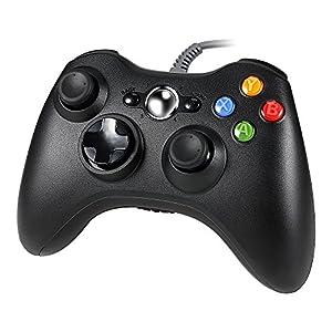 Lavuky Wired Game Controller für Xbox 360, DA11 Wired Gamepad Controller für Xbox 360 und PC (Dritteranbieter Produkt) – Schwarz