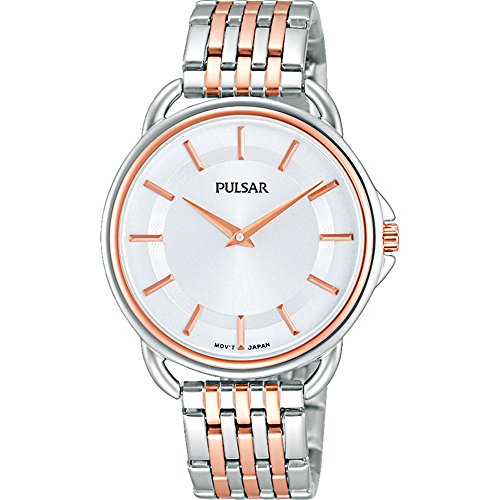 Pulsar Silver Dial Two Tone Rose Gold Bracelet Ladies Watch PM2098