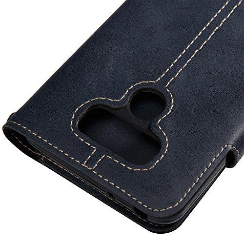 KM-WEN® Schutzhülle für Apple iPhone X (5,8 Zoll) Bookstyle Retro Stil Crazy Horse Muster Ledertasche mit Strap Magnetverschluss PU Leder Wallet Case Flip Cover Hülle Tasche Schutzhülle mit Kartenfäch Dunkelblau