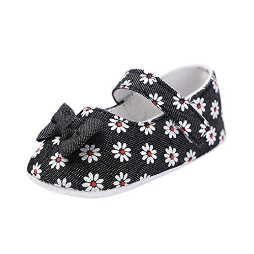 erthome Baby Schuhe, Baby Mädchen Blumen Krippe Beschuht Weiche Sohle Anti-Rutsch Kleinkind Säuglingsschuhe (12-18 Monate, Schwarz)