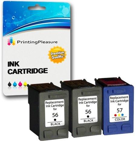 Printing Pleasure 3 Tintenpatronen kompatibel zu HP 56 57 für Officejet 5610 4212 4215 PSC 1215 1210 1315 Photosmart 7260 7350 7450 7660 7760 7960 C4180 C4280 C5280 - Schwarz/Color, hohe Kapazität - 7760 Cyan Toner