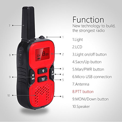 Waitiee Durable kids Walkie Talkies 2 mile Handheld Portable 2 Way Radio for Children Toy christmas Outdoor Camping Hiking ( 1 Pair) (Red)