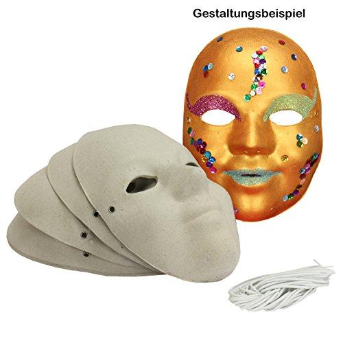 Maske für Kinder / Jugendliche aus Pappe, 6 Stück ✓ unbemalte / blanko Kindermasken aus grauer, robuster Pappe ✓ Vollmasken ca. 18,5 x 13 cm ✓ Karnevalsmasken mit praktischem Gummischur - Halloween Gesicht Weiß Malen