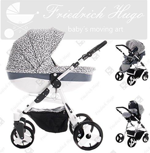Friedrich Hugo | Modell Easy Comfort | 3 in 1 Kombi Kinderwagen | Farbe: Silver & Leo Fabric