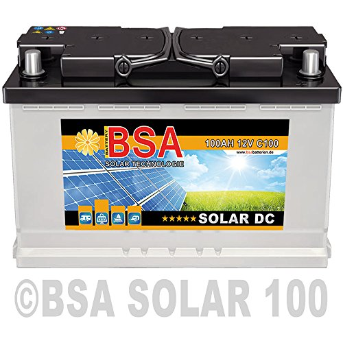 BSA Solar DC 12V 100Ah Batterie Solarbatterie Versorgungsbatterie Boot Wohnmobil - 6 Grössen (100Ah) (- Cycle Batterie-deep)