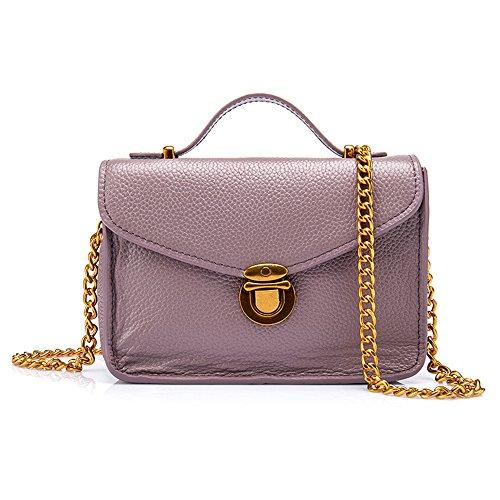 Damen Mädchen Leder Mode Sperren Grosse Kapazität Messenger Bag Metallkette Lila Handtasche Brieftasche (Schlüssel Volcom)