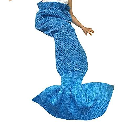 YiZYiF Meerjungfrau Decke Handgemachte Gestrickt Schlafsack Strick Decke Mermaid Tail Blanket Kostüm für Baby Kinder Erwachsene (Für Kinder, Blau (4-8 (Handgemachte Halloween-kostüme Für Erwachsene)