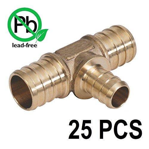 PEX 3/4 x 3/4 x 1/2 Barbed Tee - Brass Crimp Fitting Bag of 25 / Brass / .75 x .75 x .5