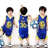 XCR NBA Warriors Curry 30th Golden State Baloncesto Camisetas Costume Traje Basketball Jersey Niños Chicos Chicas Hombres Costume Kit Set Retro Shorts y Camiseta Uniforme Top & Shorts 1 Set (Azul, L)