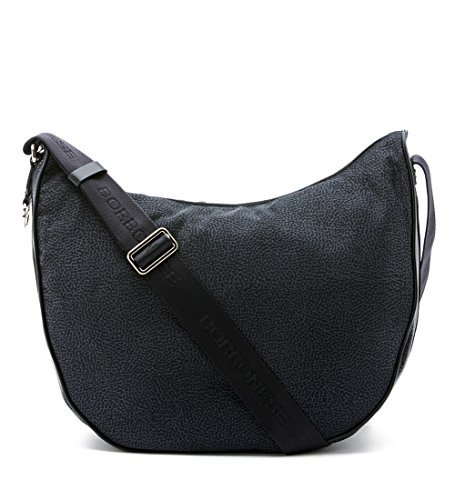 Borsa a tracolla Borbonese Luna Bag medium in Jet op nero