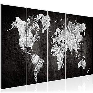 Bilder Weltkarte 200 X 80 Cm Bild World Map Wandbild Vlies U2013 Leinwand Bild  XXL Format Wandbilder Wohnzimmer Wohnung Deko Kunstdrucke Schwarz Weiß 5  Teilig ...
