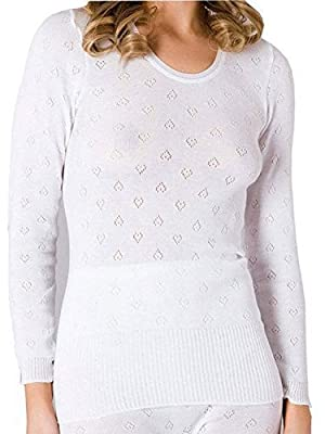 Ladies Warm Thermal Long Sleeve Vest Top White