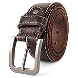 3ZHIYI Vintage Cinturón de piel de búfalo cuero 38 mm de ancho y aprox 4 mm de grueso, cinturón...