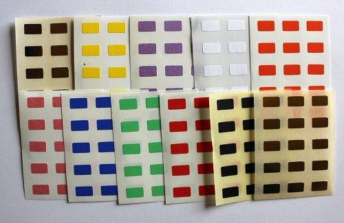 Varios colores. 165 de etiquetas de, 10 x 6 mm diseño Rectángulo, auto-de cinta de doble cara diseño, formas distintas fases
