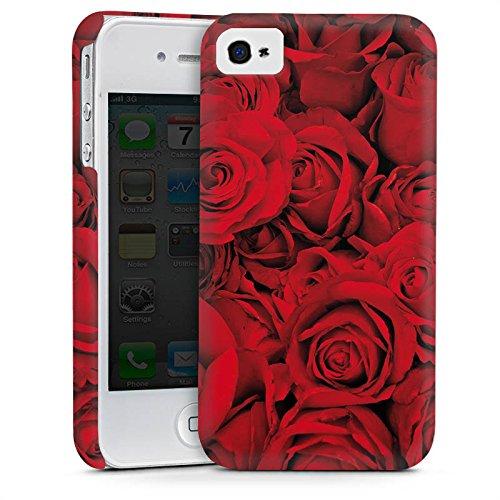 Apple iPhone 4 Housse Étui Silicone Coque Protection Rose Roses Roses Cas Premium mat