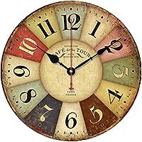OULII Orologio da parete in legno, Vintage rustico Country toscano retrò stile in legno decorativo rotondo parete orologio regalo Home Decorative per camera (figure a colori)