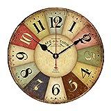 Pixnor 30cm Vintage Rustikales Land Stil Uhr Stille Holzwand dekorative Runde Wanduhr
