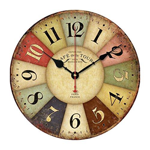Foto de OULII Reloj de pared de madera, Vintage rústica país Toscano Retro estilo madera decorativa redonda pared reloj regalo Inicio decorativo para habitación (figuras de Color)