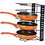 Callas Height Adjustable Kitchen Cookware Organizer Pan Rack Holder, Black CA. 17
