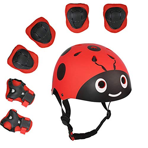 Lucky-M - 7 Game Protective Pads for Outdoor Sports for Boys and Girls (Knee Pads, Elbow and Wristbands), Red Ladybug