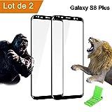 Samsung Galaxy S8 Plus Verre Trempé degré de dureté 9H 3D couverture complète film protecteur verre dur film de protection pour écrans pour Samsung Galaxy S8 Plus HD ultra-clair anti-fissure, y.c. fixation de table pour portables (2x S8 Plus)