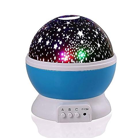 Qedertek Lampe de Nuit Rotative Veilleuse Bébé Projecteur de Ciel Étoile Avec Le Câble USB Rechargeable Cadeau Anniversaire Surprise Pour Enfant (Bleu)