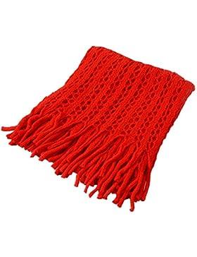 zolimx Bufanda de las mujeres, Caliente lana teje bufanda con borla decorativa