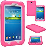 TECHGEAR® Bumper Case for Samsung Galaxy Tab 3 7.0 Inch (SM-T210 / SM-T211 / SM-T215) Rugged Heavy Duty Anti-Shock Protective Case with Added Corner & Edge Protection and Easy Grip Design [PINK] - Kids & School Friendly Case - NOT for Tab 3 Lite 7.0!!!!!