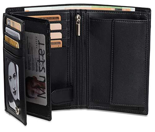 Geldbeutel Hochformat - 15 Kartenfächer TÜV geprüft - RFID Schutz – Großes Münzfach - Ideal als Geschenk für Herren - Geldbörse groß in schwarz mit Edler Geschenkbox – Gorilla