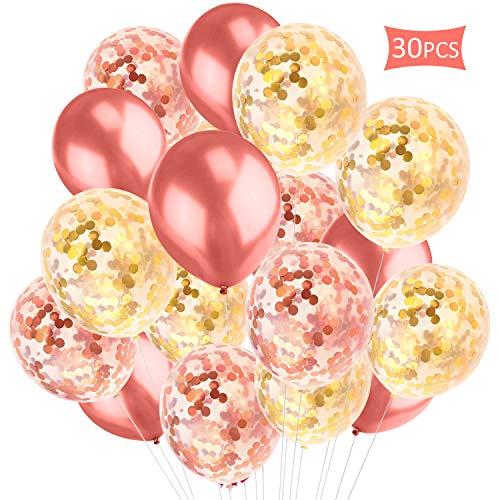 Migimi Roségold Konfetti Ballon, Luftballons Rosa Pailletten Helium Ballons Rose Gold Konfetti Premium Latex Glitter Ballons für Graduierung Verlobung Hochzeit Party Deko, 30 Stück (12 Zoll/30cm)