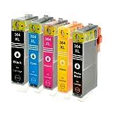 5 Logic-Seek Tintenpatronen kompatibel zu HP 364XL Schwarz 28ml, Color je 18ml, zu CB316EE CB317EE CB318EE CB319EE CB320EE.