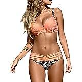 Damen Bandeau Bikini mit Bügel Push Up Raffung Bikini Set Split Zweiteilige Brasilianische Bademode Badebekleidung Strand Badeanzug