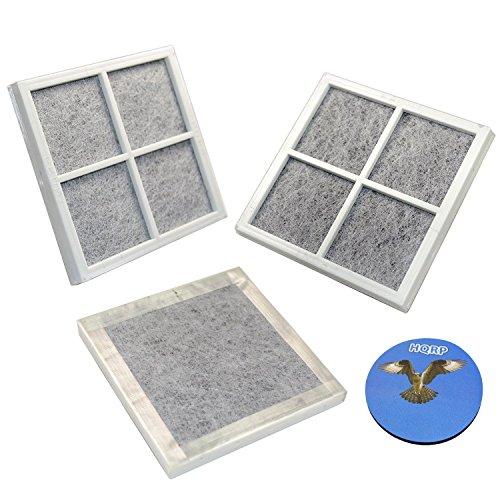 HQRP 3-Stück Flachluftfilterpatrone für LG LFX25991ST / LFX28968ST / LFX29927ST / LFX29927SW / LFX29927SB / LFX29945ST / LFX31925ST / LFX31925SW / LFX31925SB Ersatz + HQRP Untersetzer (Filter, Lg Kühlschrank Lfx31925st)