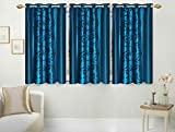 Excel Bazaar Light Blue Kolaveri Window Curtain 5 X 4 Feet ( Set of 3)