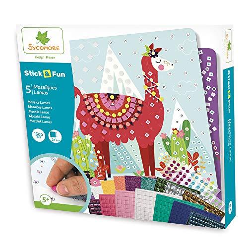 Sycomore CRE7012 Selbstklebende Mosaike für Kinder-5 Lamasbilder-Kreative Freizeitgestaltung-Stick & Fun-Ab 5 Jahren-Sycomore-CRE7012, Mehrfarben