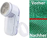 Sichler Haushaltsgeräte Flusenrasierer: Akku-Fusselrasierer mit Metall-Flusengitter, weiß/lila (Elektrische Fusselrasierer)