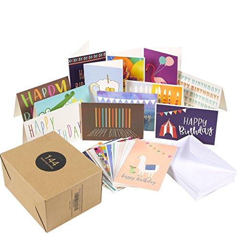 144Stück sortiert Grußkarte Happy Birthday Karten-Bulk Box Vielzahl Set beinhaltet 36Einzigartige Designs und weiße Briefumschläge, 10,2x 15,2cm gefaltet