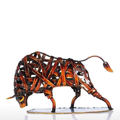Tooarts Metall Geflochtene Rind Deko Skulptur Dekofigur Moderne Skulptur zum Dekorieren Rot
