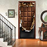 Pralinen 3D Tür Aufkleber Poster Selbstklebende DIY Dekorative Wasserdichte Wandtattoo Wandbilder Tapete Auf Tür 2 Teile/satz 77 * 200 cm