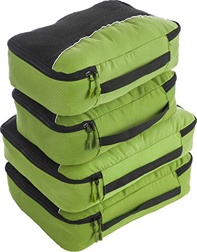 Travel Packing Cubes 4pcs Value Set - Plus 6pcs Ziplock Bags- Green