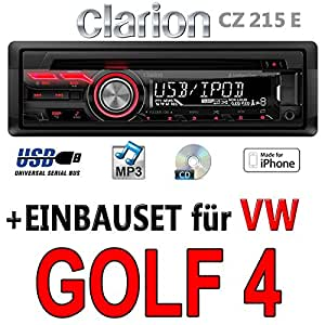 VW Golf 4 IV - Clarion CZ215E - USB | MP3 Autoradio - Einbauset